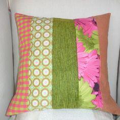 Housse de coussin en patchwork: vert anis, fuchsia & pomme