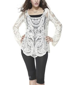 Look what I found on #zulily! Simply Couture White Sheer Palm-Embroidered Boatneck Top by  #zulilyfinds