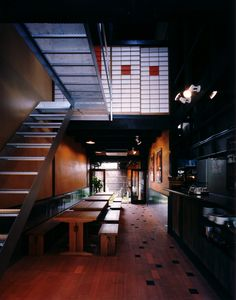 Kazuya Morita Architecture Studio  Ratna cafe - stairway on south wall to planting area?