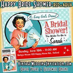 62 best vintage bridal shower invitations images on pinterest retro bridal shower invitation red aqua card funny design for a super fun shower theme filmwisefo