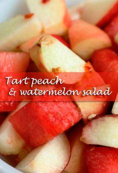 Tart peach and watermelon salad – Makes 6 servings