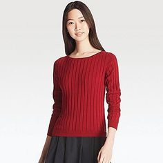 WOMEN COTTON CASHMERE WIDE RIBBED SWEATER, WINE