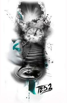 ted bartnik, tattooflash, tattoo template, tattoo work, tat … – tattoo … - Famous Last Words Religious Tattoo Sleeves, Religious Tattoos, Angel Tattoo Designs, Tattoo Sleeve Designs, Watch Tattoos, Time Tattoos, Clock Tattoo Design, Tattoo Clock, Design Tattoos