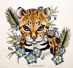 ocelotl by:Alejandra L Manriquez. | #tattoo #ocelot #tattooflash #cat #cattattoo