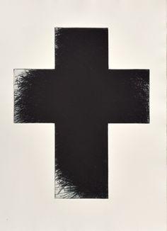 Arnulf Rainer, Dark Green Cross, Radierung, Format 80 x 60 cm Arnulf Rainer, Austria, Abstract Art, Symbols, Letters, Black And White, Dark, Crosses, Black N White