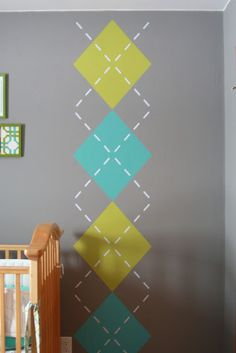 I love argyle! - Argyle wall for the kids' room! Argyle Wall, Wall Decor, Room Decor, Wall Art, Home Living, Baby Boy Nurseries, Home And Deco, Wall Treatments, Boy Room