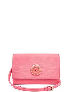 METROCITY - SMALL EMBOSSED LEATHER SHOULDER BAG - PINK