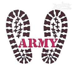 Army Footprint Embroidery Design