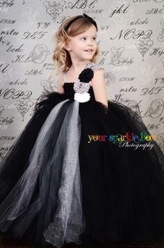 Black Silver Gray White glitter tutu dress wedding flower girl nb-4t....Rachel--here is the cutest flower girl dress I've ever seen!