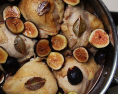 Braised Chicken with Figs and Bay  (adapted from Cooking Light, August 2000)     Ingredients:   6 chicken thighs 1/2 tsp. salt 1/4 tsp. blac...