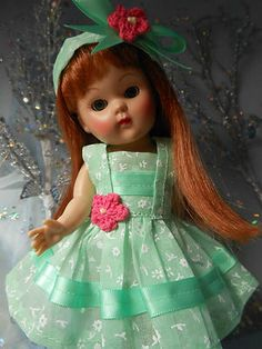 organdy dress and headband for Vogue Ginny dolls.