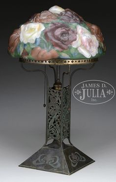 PAIRPOINT PUFFY ROSE TABLE LAMP.