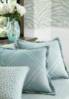#mycoolness #blue collection Anna French Wallpaper, Pillow Talk, Pillow Room, Throw