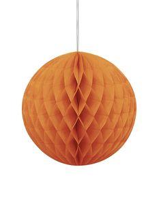 Bola papel alveolada naranja Halloween: Esta decoración colgante es una bola…