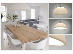 """*Uitgelicht* artikel 87765 en 86744 Zeer bijzondere hanglamp gemaakt door ROVE DESIGN. Prachtig ontworpen door Aad Verboom en absoluut een opvallende """"verschijning"""" in uw interieur! Zeer strakke en unieke hanglamp in een witte uitvoering. Dit zeer bijzondere exemplaar valt op door zijn strakke, halfronde vormgeving.(60cm) . http://www.rietveldlicht.nl/artikel/hanglamp-87765-modern-design-kunststof-acrylaat/plexiglas-wit-mat-rond"""