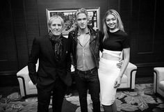 Backstage at the 14th Huading Music Awards in Shanghai, China on 8th January, 2015 when he received a Lifetime Achievement Award. In picture is Cody Simpson and Gigi Hadid.