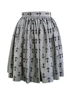 Bessie Skirt- Anchors chambray - Swonderful Boutique Fabric is 100% cotton in a grey chambray with black anchors, concealed zip at the side.