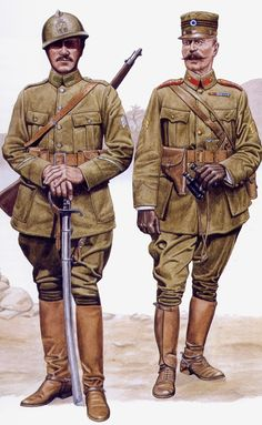 Greek forces in Southern Russia, 1919 Cavalry Lance Corporal (left), Infantry Captain (right)