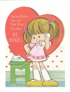 A little girl talks on an old fashioned landline telephone on this vintage Valentine.  I would date this one as 1970's.  View from the Birdhouse: Weekend Window Shopping at Birdhouse Books