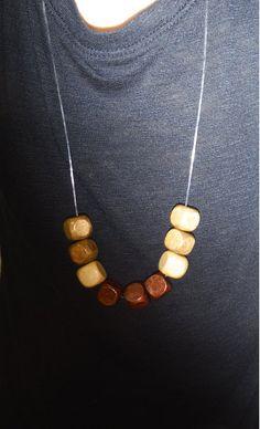 Wooden Block Bead Necklace!