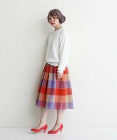 Dot&Stripes CHILDWOMAN(ドットアンドストライプス チャイルドウーマン)のブロックチェック ギャザースカート(スカート)|オレンジ
