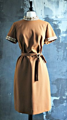 Handmade Light Brown 1960-70s Shift Dress by StrangerThanVintage