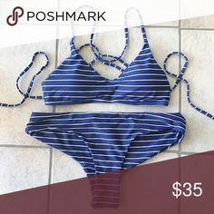 Nautical Striped Bikini Marked medium, but fits like large. Brand new , no trades Swim
