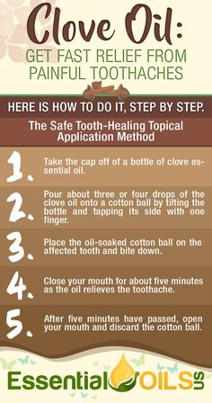 Get fast relief from painful toothaches with all natural clove oil. Use the safe tooth-healing topical application method. Myrtle Essential Oil, Essential Oil Spray, Clove Essential Oil, Essential Oil Blends, Oil For Headache, Headache Relief, Pain Relief, Clove Oil For Teeth, Oils For Tooth Ache