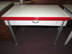 1940u0027s Red U0026 White Porcelain Top Table,2 Pull Out Leaf Kitchen W/Drawer, Metal