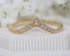 Custom Chevron Wedding Ring, V Shape Chevron Ring, Wedding Nesting Ring, Matching Wedding Band, Diamond Nesting Wedding Ring