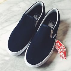 $48Vans Navy Suede Slip Ons Classic Vans slip ons in navy suede. New with tags (but no box). Womens 8, Mens 6.5. NO TRADES/PAYPAL. Vans Shoes Sneakers
