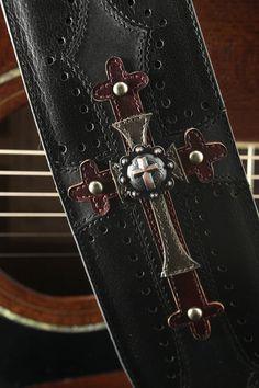 Black Leather Guitar Strap Harbinger Guitar by EthosCustomBrands