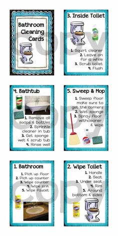 Savings Challenge Discover Kids Chore Chart Printable - Step by Step Bathroom Cleaning Cards for Kids - Easy House Cleaning Checklist, Weekly Cleaning, Household Cleaning Tips, Diy Cleaning Products, Cleaning Solutions, Bathroom Cleaning Tips, Speed Cleaning, Cleaning Supplies, Printable Chore Chart
