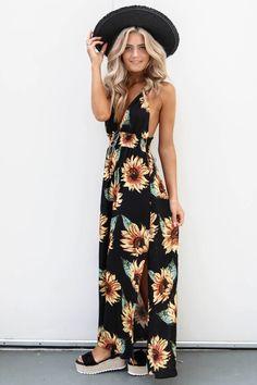 Light Beam Sunflower Print Maxi Dress