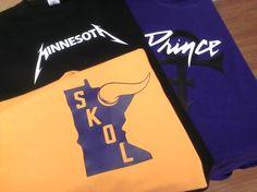 6c606413 SKOL Vikings design, Minnesota in Metallica font and a Prince shirt.