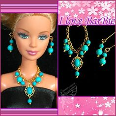barbie doll jewelry set barbie Turquoise necklace and earring by sinogem on Etsy