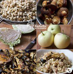 Kuchařka ze Svatojánu: SLZOVKA S HOUBAMI A ZELÍM Cereal, Garlic, Vegetables, Breakfast, Food, Morning Coffee, Essen, Vegetable Recipes, Meals