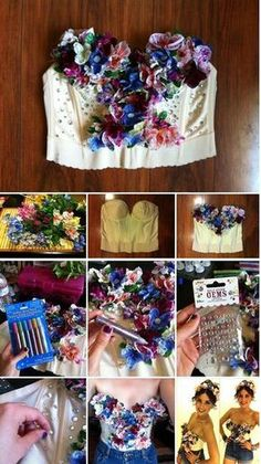 Fancy Made DIY - Bejeweled Floral Bustier. DIY fairy costume for Halloween? Halloween Fairy, Halloween Makeup, Halloween Ideas, Bustiers, Karneval Diy, Theme Carnaval, Floral Bustier, Music Festival Outfits, Diy Festival Clothes