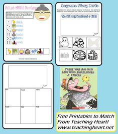 There Was an Old Lady Who Swallowed a Chick.  Free Printable Activities to Go Along WIth the Book.  From www.teachingheart.net