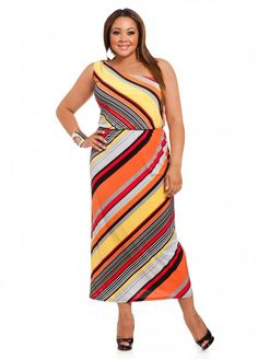Striped One shoulder Maxi