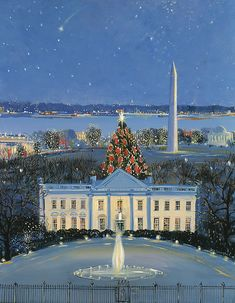 "Sally Caldwell Fisher Open Edition Fine Art Canvas Giclée:""White House at Christmas"" Artist: Sally Caldwell Fisher Title: White House at Christmas Size: x Edition: Open Edition; Published from the artist's original work. All Things Christmas, Christmas Lights, Christmas Holidays, Presidential History, Land Of The Free, Workshop, Beautiful Sites, Christmas Paintings, White Houses"