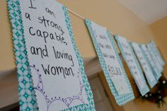 LABOR and BIRTHING Affirmation Prayer Flags di AscendedBirth...have people bring quotes and make at the baby shower.