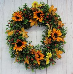 Fall Wreath  Fall Pumpkin Sunflower & Boxwood by Designawreath, $69.95