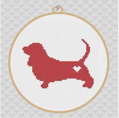 Basset Hound Silhouette Cross Stitch Pattern by kattuna on Etsy, $3.50