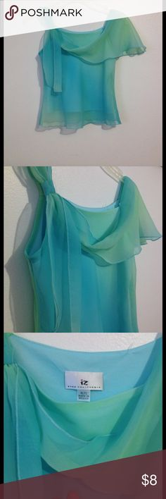 """Aqua Blue Green Off the shoulder one strap Blouse This blouse is in great used condition! It's only been worn once and is very elegant while still giving it a playful little girl look! Offers welcome! The brand is """"Byer California"""" but we put Old Navy for more views! Old Navy Shirts & Tops Blouses"""