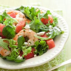 Looking for big protein in little time? This salad is easy to make and provides delicious shrimp with cooling watermelon. Get the recipe for Shrimp, Watermelon, and Feta Salad  - GoodHousekeeping.com