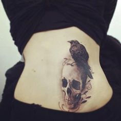 Skull and raven tattoo (Poe)