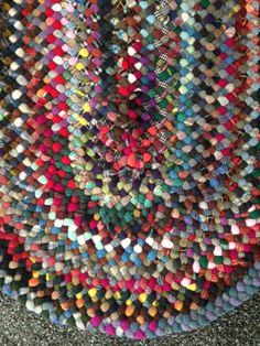 Hand braided wool rug by AtNanasFarm on Etsy Braided Wool Rug, Felted Wool Crafts, Rug Hooking, Amazing Bathrooms, Beautiful Hands, Crochet Stitches, Wool Felt, Needlework, Area Rugs