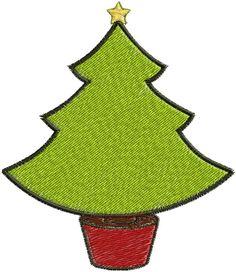 Arquivo de Matriz de Bordado tema Árvore de Natal para maquinas de bordado eletrônico nas extensões de arquivos DST, JEF e PES.    Medindo 7.3 cm de largura por 8.4cm de altura.    Pontos 10 000    Cores: 5