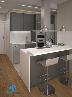 Para la #reforma de #cocina se ha optado por que esta este abierta al #comedor. #interiorismo #3D #Barcelona #kitchen